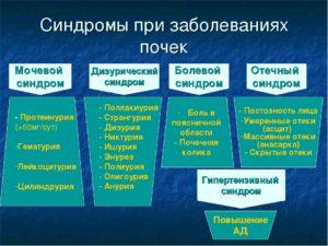 Основные клинические синдромы при заболевании почек