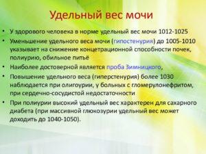 Удельный вес мочи 1025